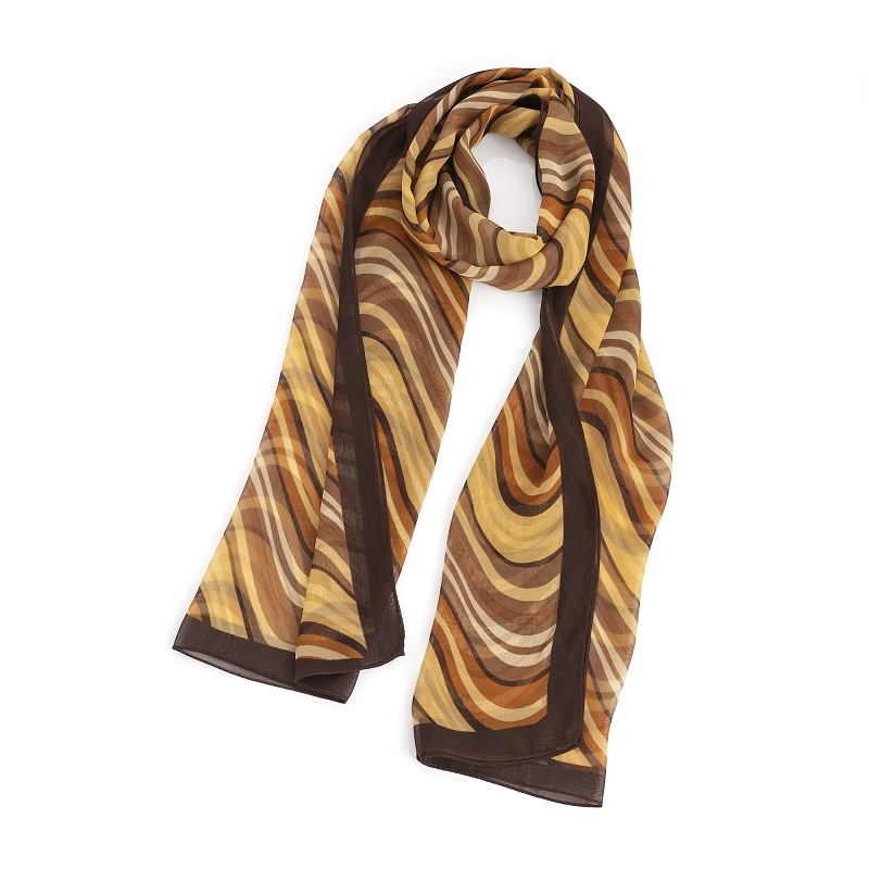 Brown tone wavy stripe design scarf