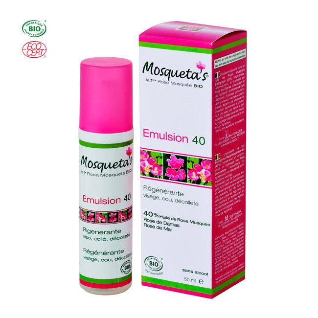 Emulsion 40 bio à l'huile de rose musquée 50ml