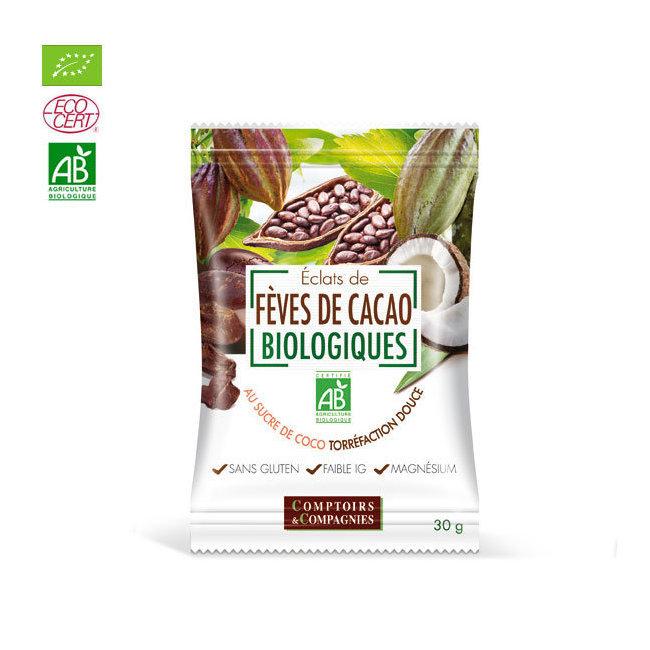 Eclats de fèves de cacao bio au sucre de coco 30g