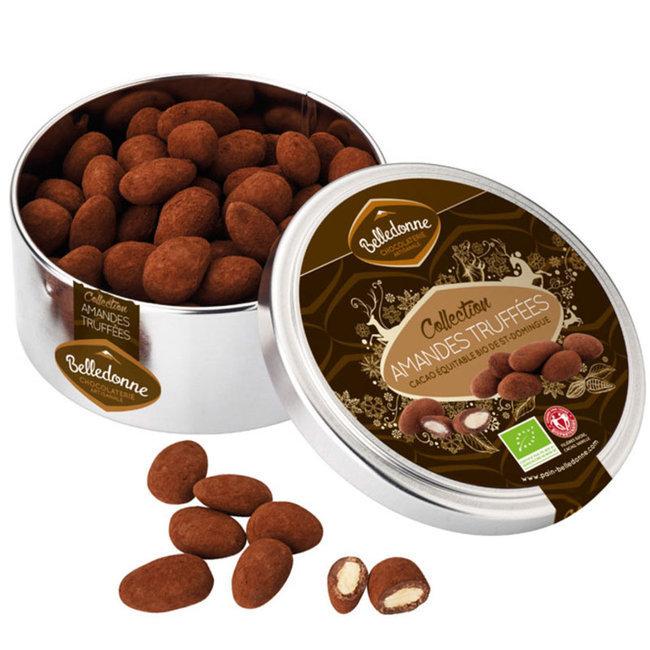Amandes truffées au Cacao bio et équitable - Boîte métal 150g