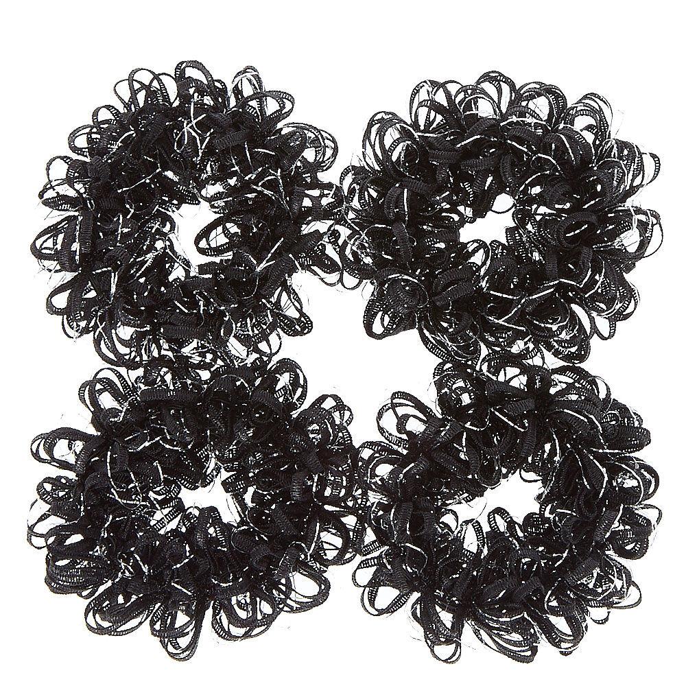 black looped ribbon hair scrunchies