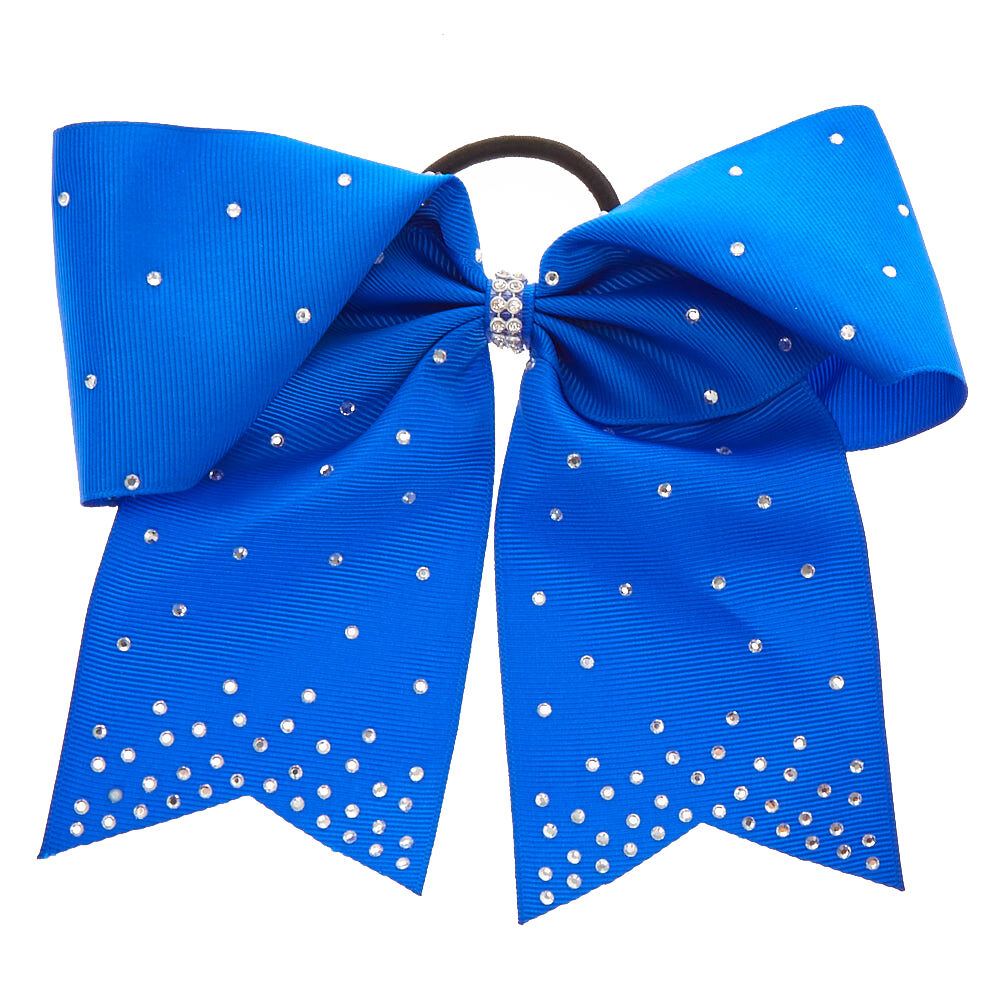royal blue rhinestone cheer bow
