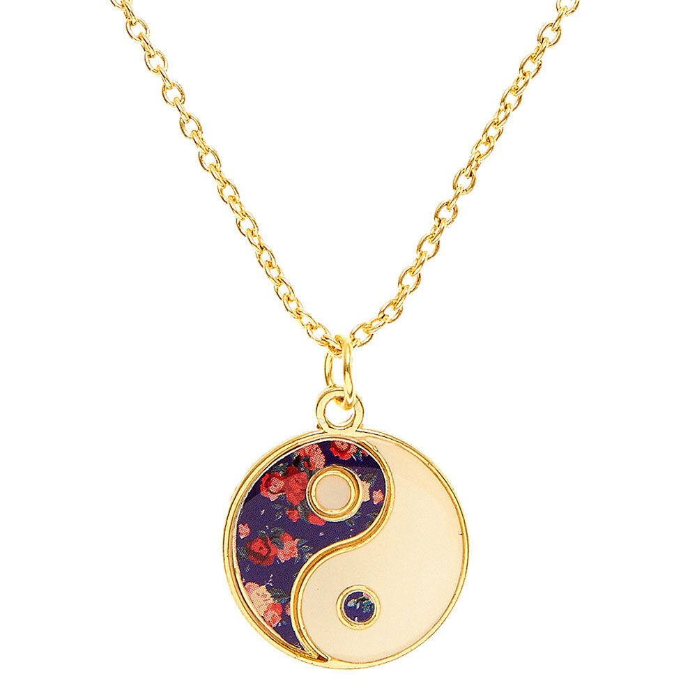 Floral Yin Yang Necklace Claires US