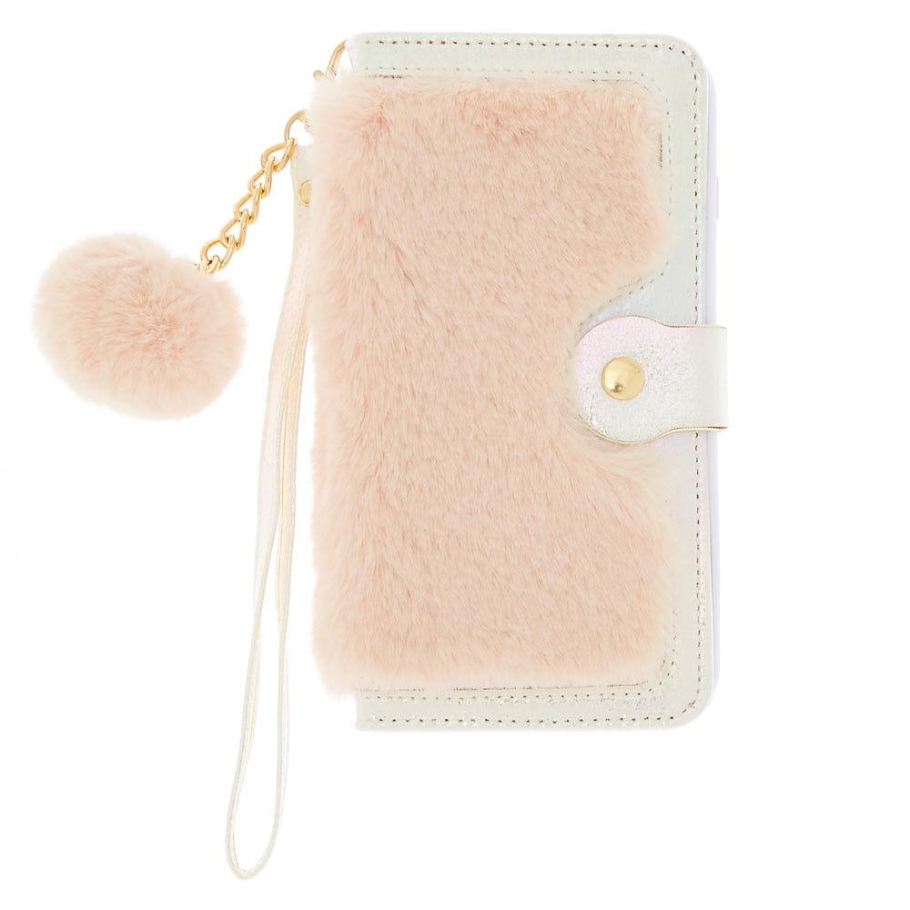 coque de portable avec rabat fausse fourrure rose pale compatible avec iphone 6 7 8 plus