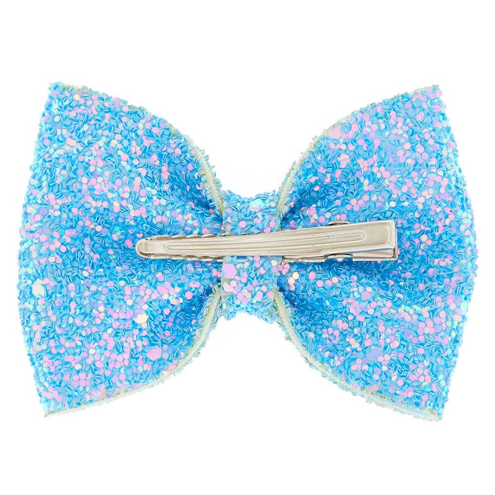blue glitter mini hair bow claw