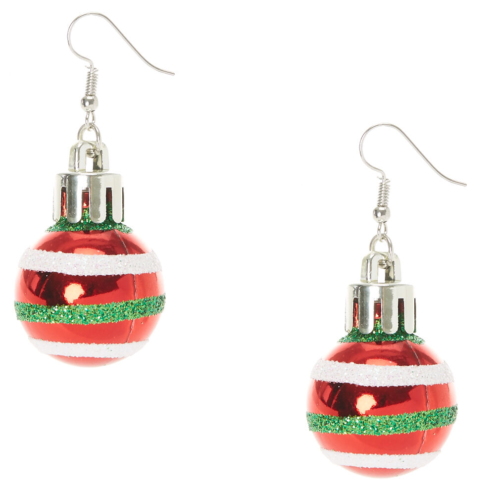 Red Striped Christmas Ornament Drop Earrings Claires US