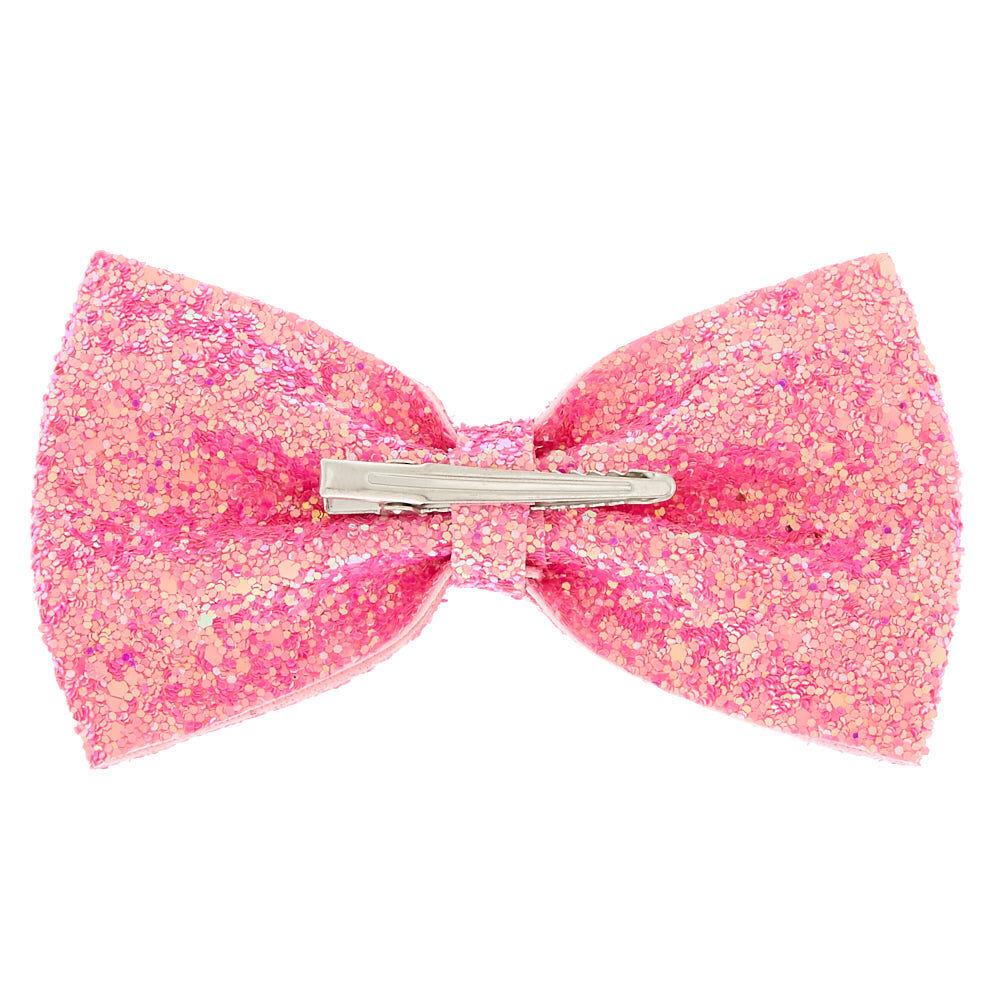 iridescent glitter hair bow clip