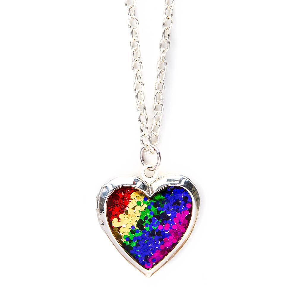 rainbow glitter heart locket