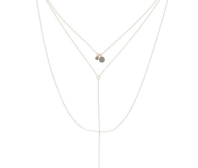Rose Gold Glitter Disk Multi Strand Necklace