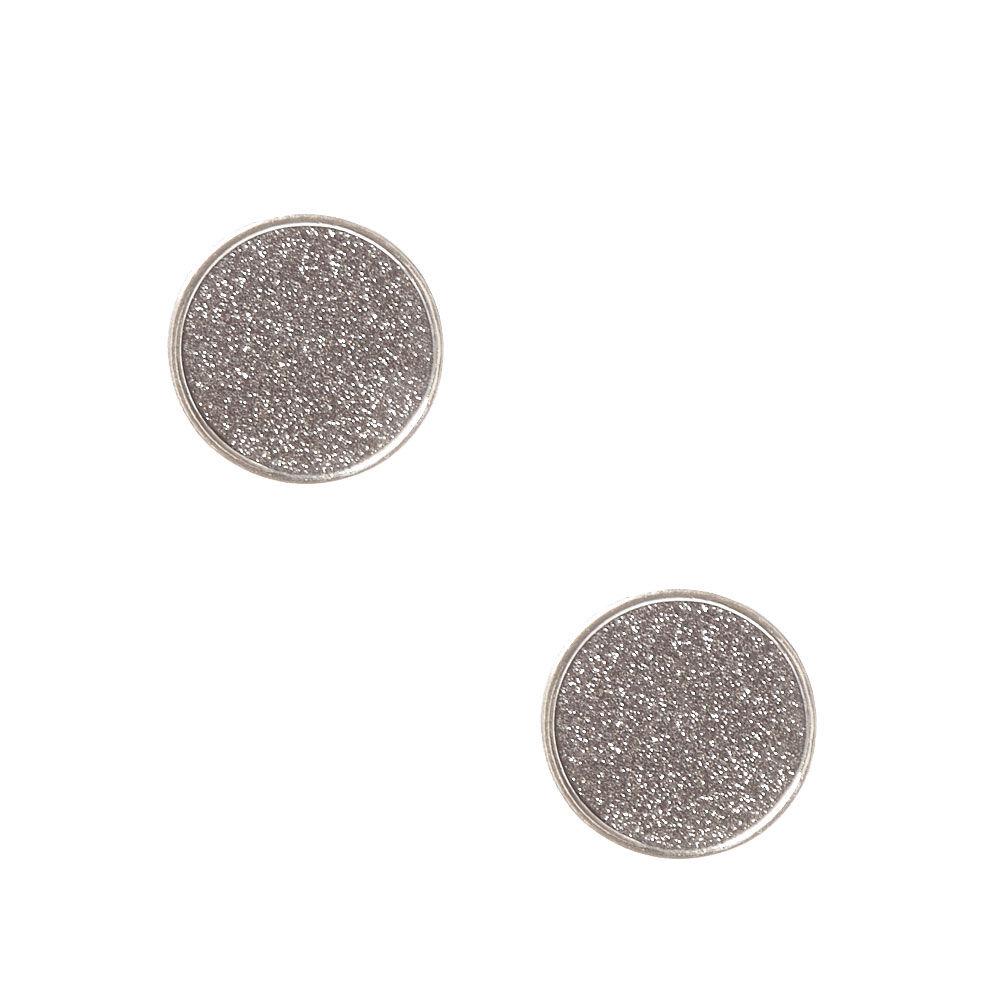 Large Round Black Glitter Stud Earrings