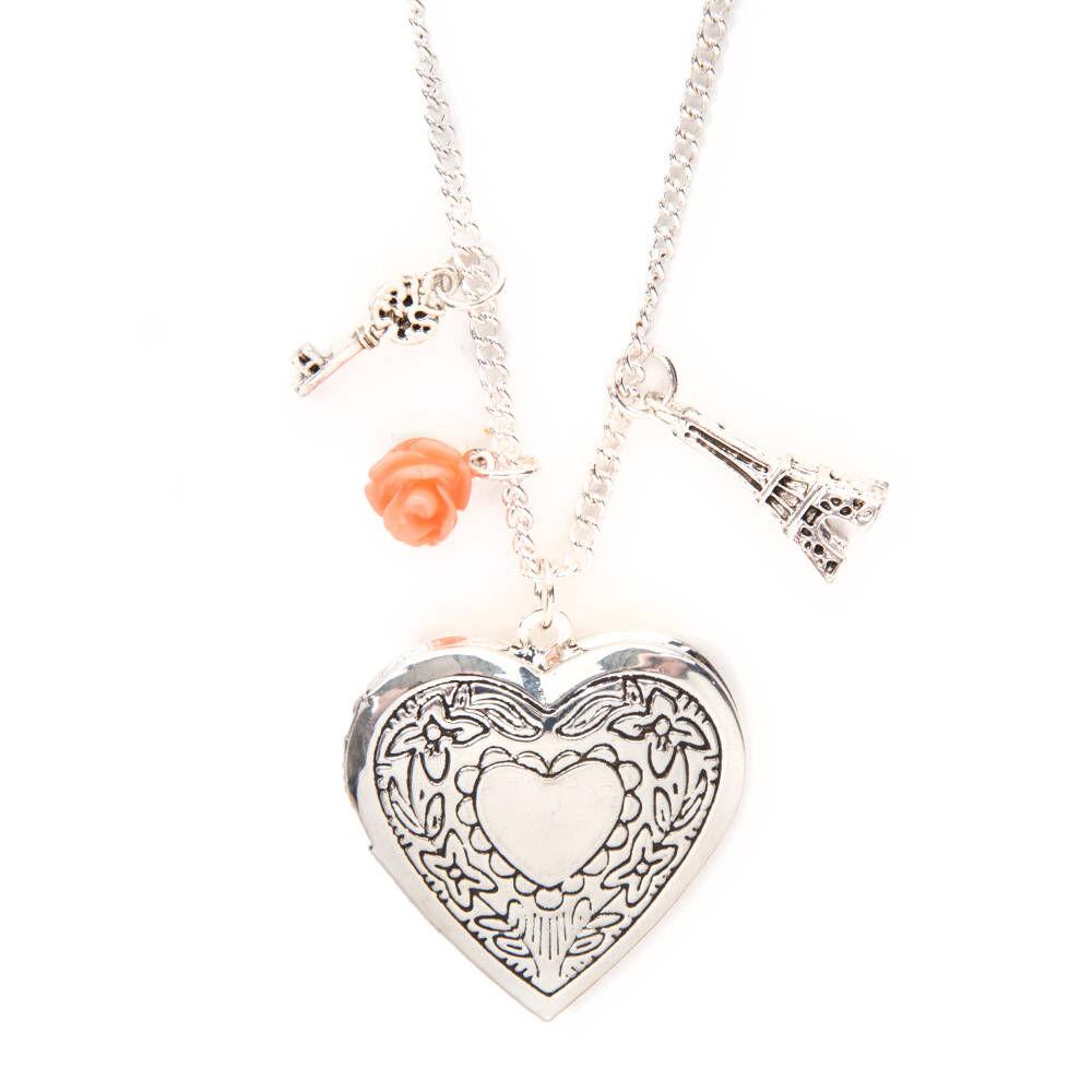 silver heart locket charms