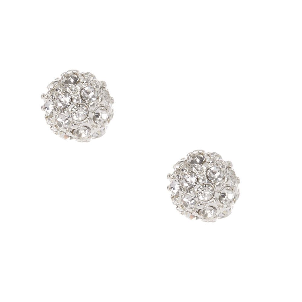 Silver Fireball Stud Earrings