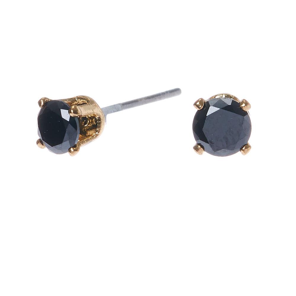 4mm Jet Black Round Cubic Zirconia Stud Earrings