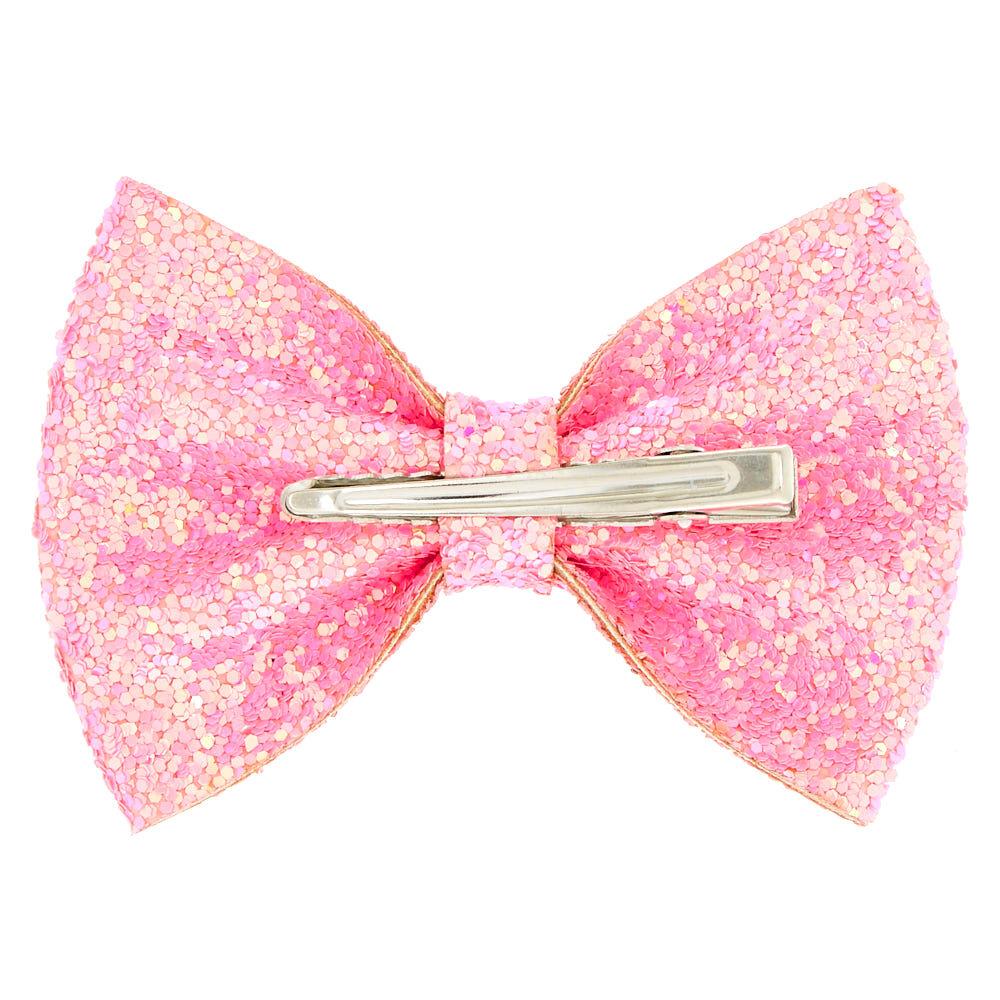 glitter mini hair bow clip - pink