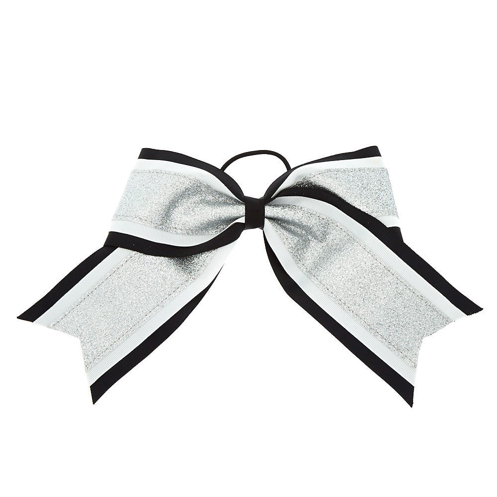 silver glitter cheer bow hair tie