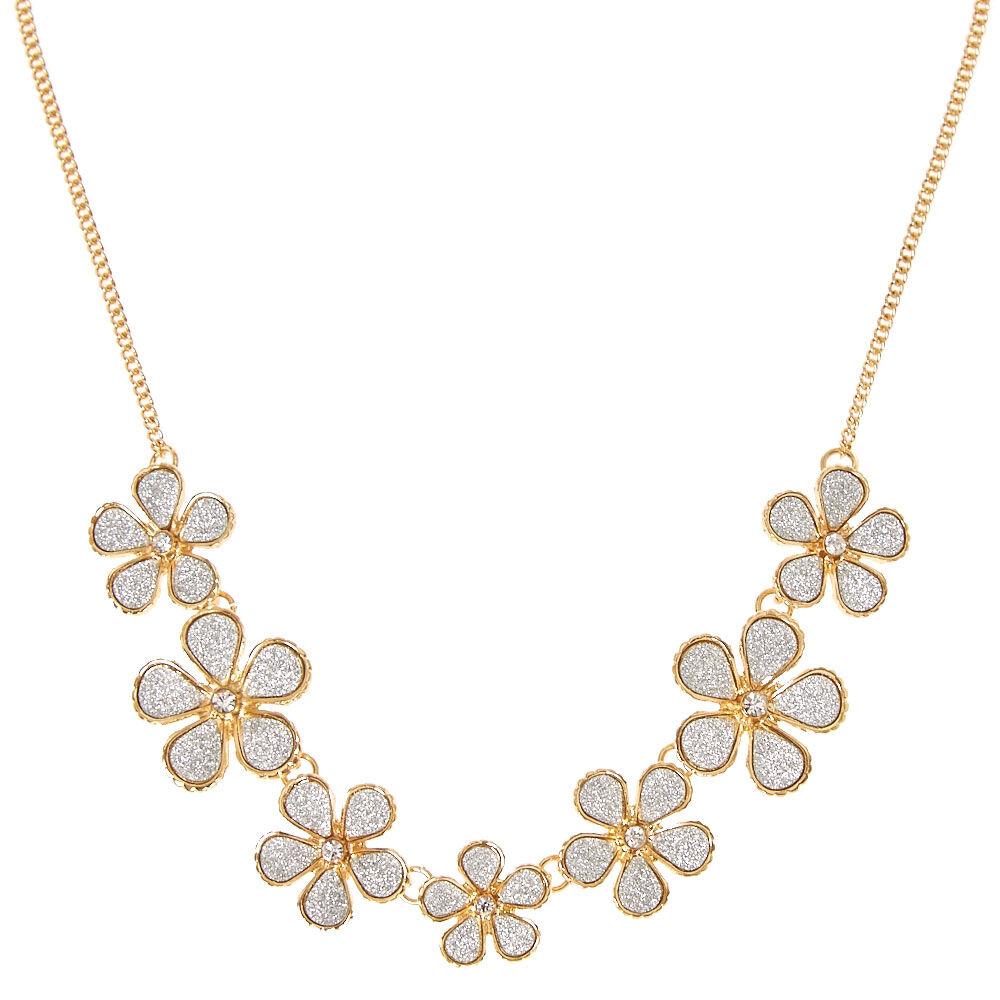 gold flower glitter necklace