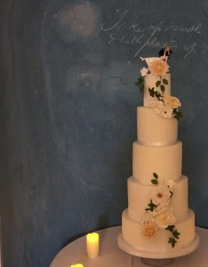sugar flowers with a resin cake topper