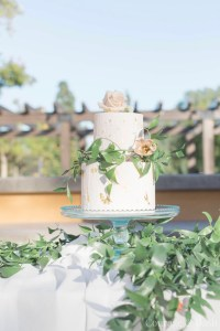 Two tier, peach elopement wedding cake