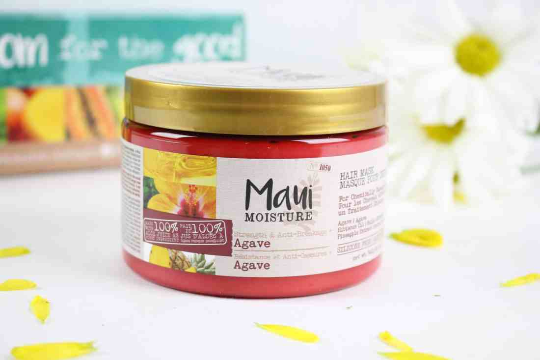 maui moisture strenght & anti breakage agave hair mask jar packaging