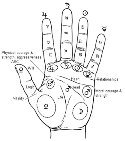 Palmistry Diagram of Hand