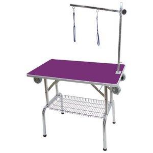Tavolo da toelettatura viola con ruote e carrello