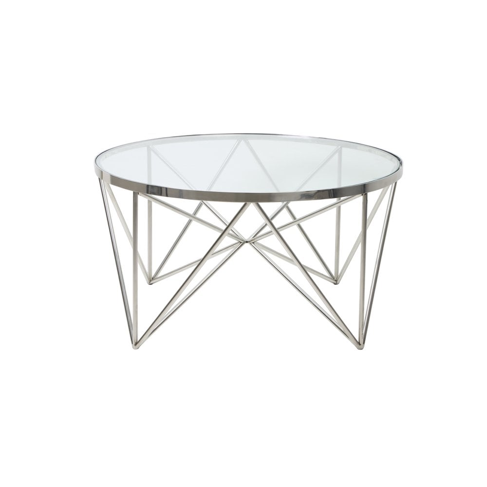 clanbay ll coffee table bogota silver metal round table in nickel with glass 80x43cm