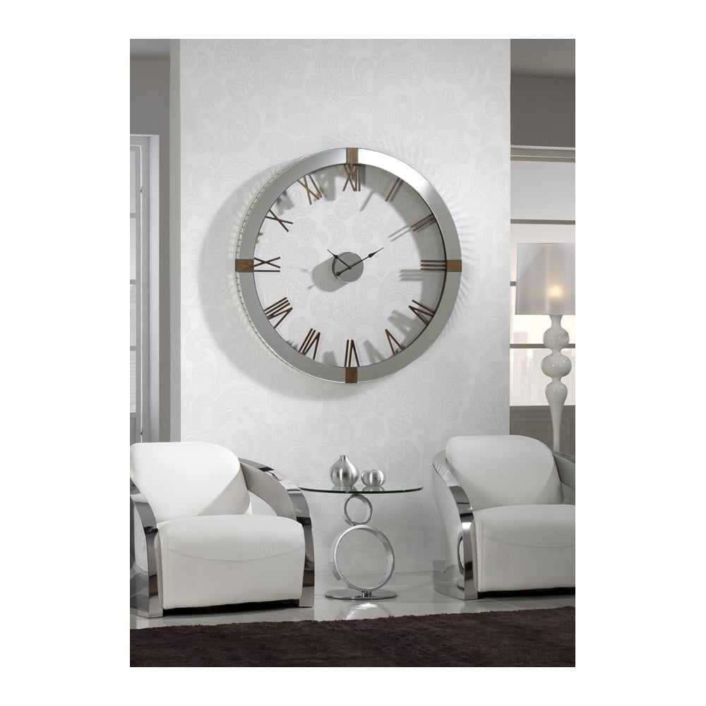 Large Silver Wall Clock With Ash Tree Quarter Pointers Clanbay