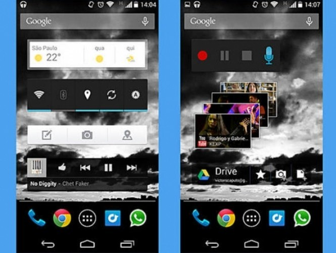 Com o sistema Android é possível personalizar as telas do smartphone e colocar informações usando widgets. A Apple já deu seu primeiro passo autorizando seus usuários a usar widgets, mas não nas telas principais. Com widgets padrão do Android, dá para colocar ações simples como ligar Wi-Fi, GPS e Bluetooth na tela inicial. Alguns apps também oferecem seus próprio widgets. Com o Gmail, os últimos e-mails ficam à vista. Com o Facebook, dá para visualizar menções e publicações de seus amigos.