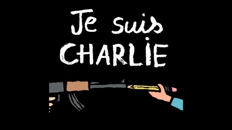 """""""Eu sou Charlie"""". (#JeSuisCharlie foi a hashtag mais forte sobre o assunto nas manifestações via Twitter.) Autor: Jean Jullien."""