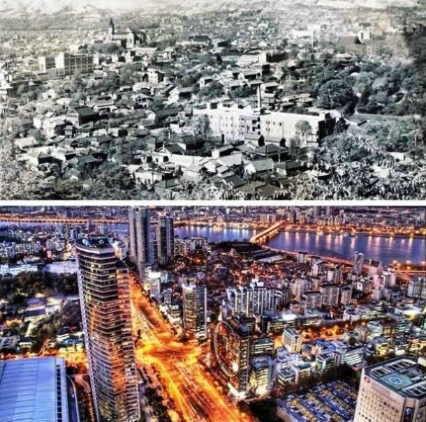 21. Seoul, Coreia do Sul 1950 e atualmente