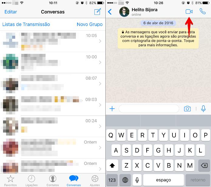 Toque no ícone de câmera do WhatsApp