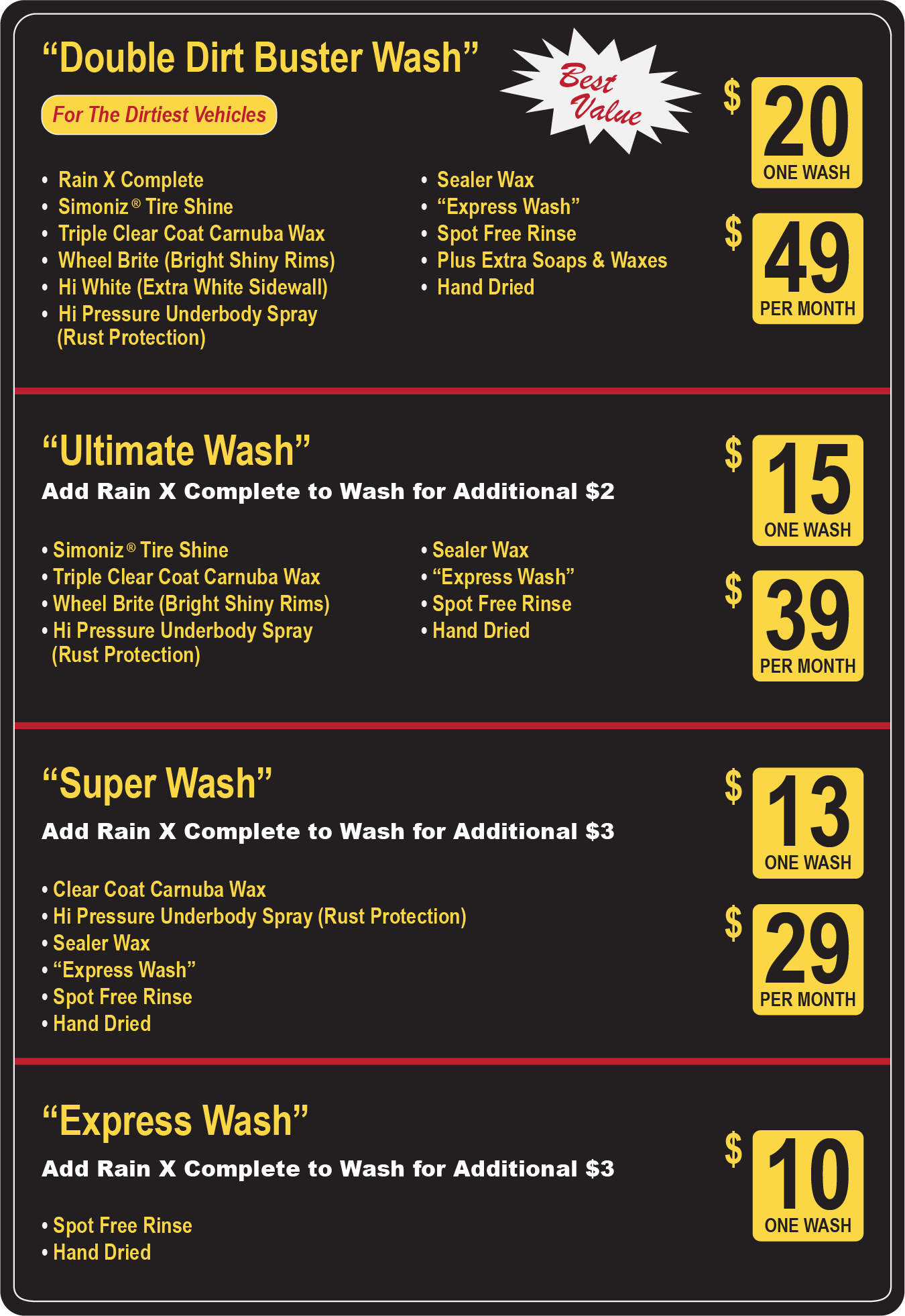 Packages Amp Services Clancy S Car Wash