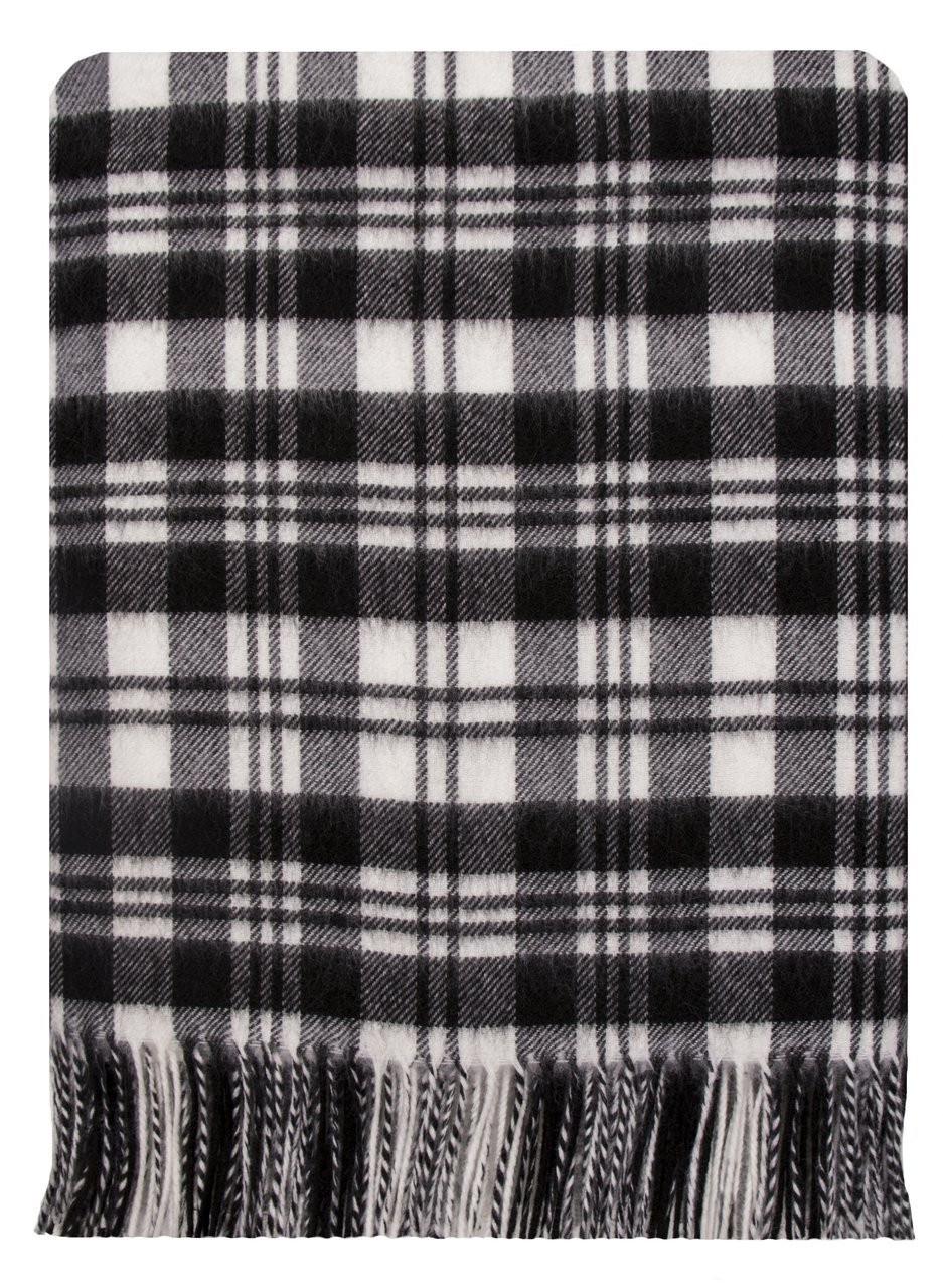 Scott Black White Modern Tartan Throw Rug Clan Scotland