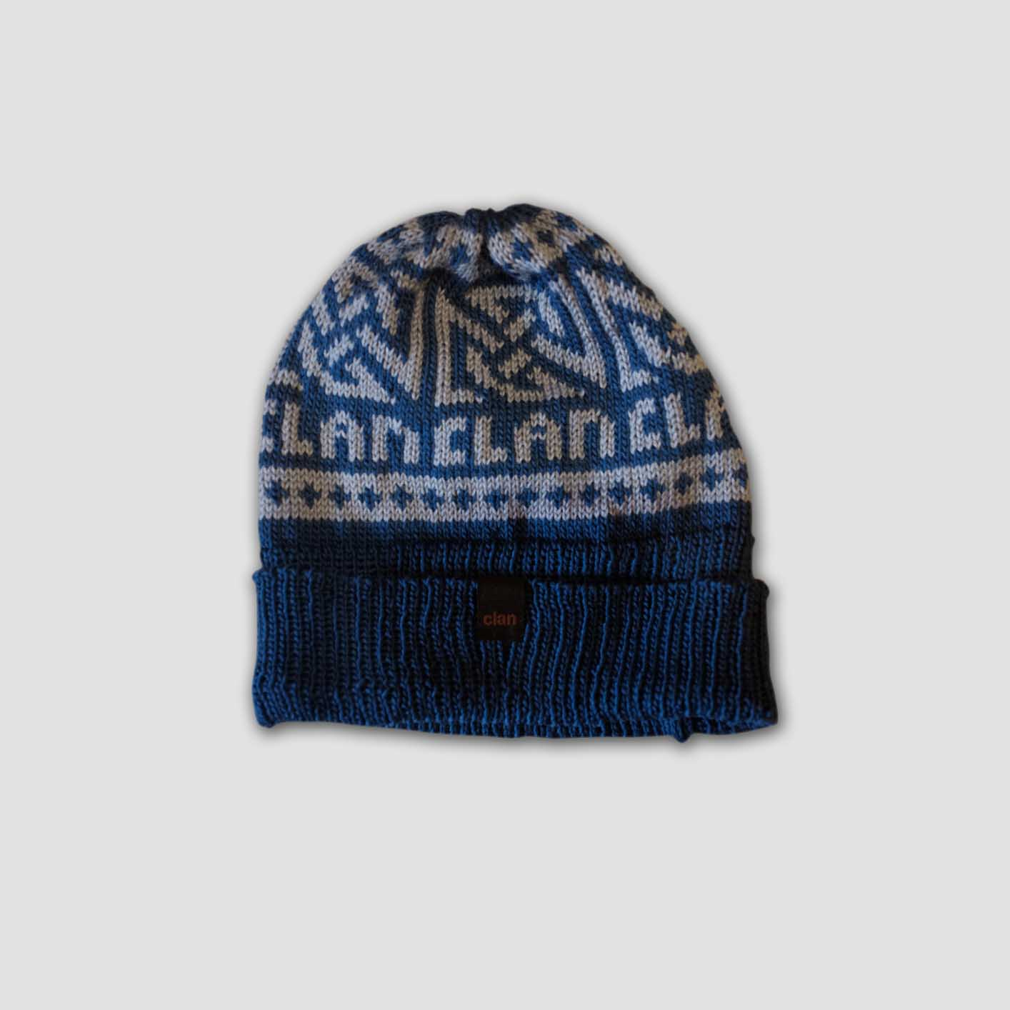 4003816d8b2 Clan Merino Wool Beanie (Grey on Blue)