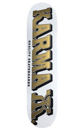Karma Zizzla Skateboard Deck 8.5″ WHITE/GOLD