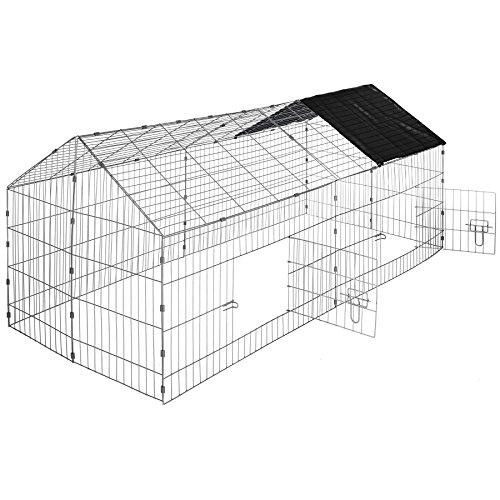 TecTake Cage enclos à lapin extérieur avec protection pare-soleil toit   LxlxH: 180 x 75 x 75 cm   Noir
