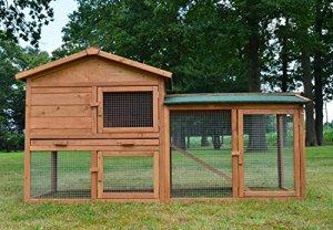 Zooprimus Cage Clapier Enclos lapin Extérieur en bois de pin Haute Qualité 145x53x86 cm Villa Lapin