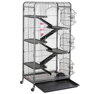 Yaheetech Grande Cage pour Rongeurs/Rats/Furets/écureuils/Chinchillas – 6 Niveaux 64 x 44 x 131 cm Noir