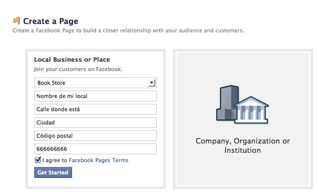 crear una página en facebook
