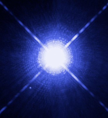 With the Hubble Space Telescope Sirius A, the brightest star in our night sky, along with Sirius B, its faint, tiny stellar companion can be seen. Sirius B is the faint, tiny dot at the lower left. So how did the Dogons know of its existence with no telescopes? (Sir. Image credit: H. Bond (STScI) and M. Barstow (University of Leicester)