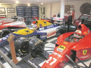 Some of Nigel Mansell's racing cars at Woodbury Park, the hotel near Exeter he used to own.