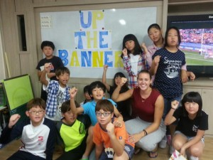 PE teacher Jayne McMahon from Ennis, currently teaching in South Korea, has taught her pupils all about hurling.