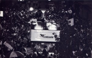 The Clare hurling team on an open-top bus after the 1995  All-Ireland final.