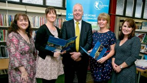 Pictured at Clare County Library Ennis for the Bluebird Care Age Action Security Event were, from left, Teresa Carmody-O'Shea, Clare County Library; Pearl Nugent, Blubird Care; Joe Downey, Crime Prevention Officer; Kay Leahy, Bluebird Care MD and Sharon Malone, Monitor. Photo Arthur Ellis.