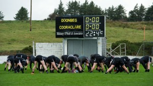 Doonbeg players warming up at Kilmihil  for the county football quarter final which didn't take place because Cooraclare didn't turn up and Doonbeg themselves eventually  didn't take to the field. Photograph by John Kelly.