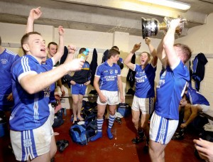 Cratloe footballers celebrate their county final victory. Photograph by Arthur Ellis