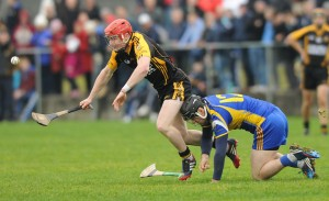 Paul Flanagan of Ballyea in action against Colin Ryan of Newmarket during their semi-final at Clarecastle. Photograph by John Kelly.