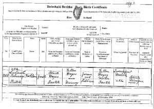 Kathleen's birth certificate.
