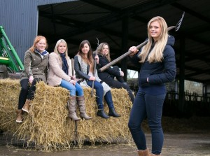 Cassandra McKenna, Bodyke; Aisling Callinan, Crusheen; Katie McInerney, Tulla; Martina Skehan, Kilkishen and Muirne Donnellan, Feakle, who will challenge for the Crown of East Clare Farmerette Queen on March 15.  Photograph by Arthur Ellis
