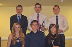 Sports personalities honoured at the O'Callaghan's Mills parish function were Sean Hehir, Patrick Donnellan and Conor Cooney; front, Louise McCagh, Colin Crehan and Ella Donnellan.